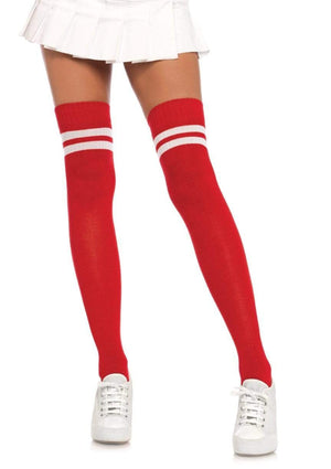 Ribbed Athletic Thigh High Socks in Red