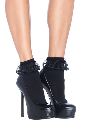 Ruffle Anklet Socks in Black
