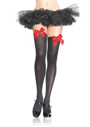 Opaque Thigh High Stockings in Black with Red Bows