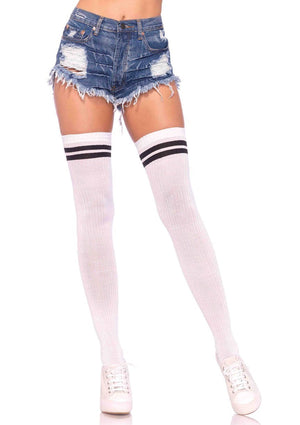 Ribbed Athletic Thigh High Socks in White