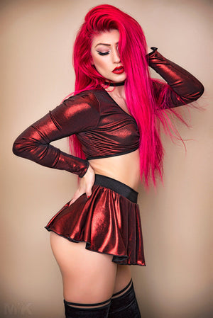 Red Metallic Mesh Set with Ring Top and Skirt