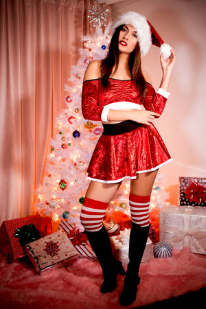 Santa's Helper Red Velvet Off Shoulder Top and Skirt Set