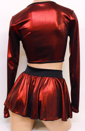 Red Metallic Ring Top