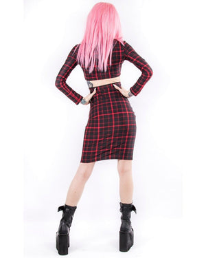 Retro Plaid Highwaist Pencil Skirt in Red