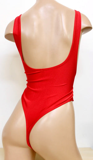 Suspender Swimsuit with Thongback in Red