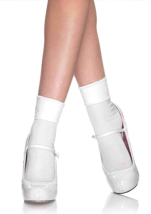 Satin Cuff Anklet Socks in White