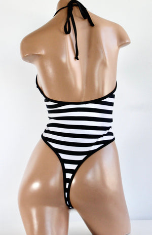 High Cut Halter Bodysuit in Black and White Stripes