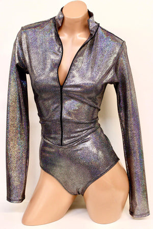 Hologram Space Babe Long Sleeve Onepiece Suit with Zipper in Silver