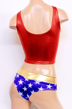 Star Superheroine Crop Tank Set with Lowrise Cheeky Shorts