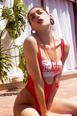Suspender Swimsuit with Rioback in Red