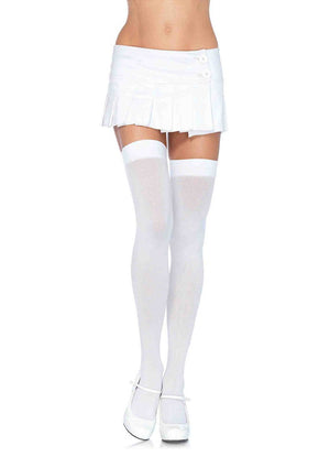 Opaque Thigh High Stockings in White