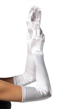 White Satin Opera Length Gloves
