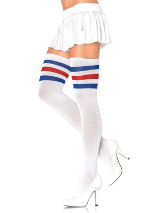 Athletic Thigh High Striped Tube Socks in Blue and Red