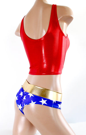 Wonder Woman Inspired Crop Tank and Circle Skirt Costume Set