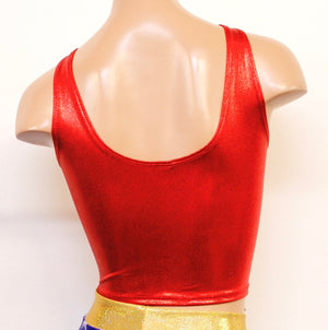 Star Superheroine Crop Tank with Red Stars Emblem Patch