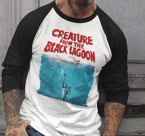 Creature From The Black Lagoon Raglan Shirt-Blood Moon Shirts