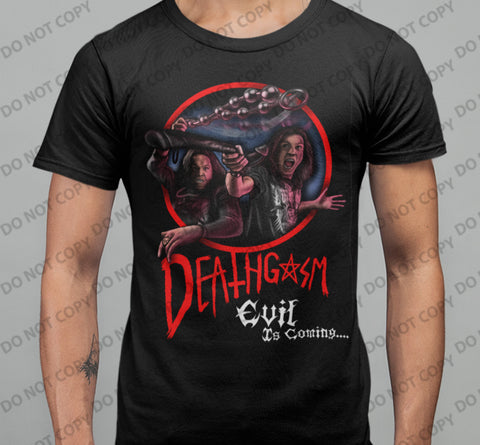 Deathgasm - Fighting Demons T-shirt Double sided. - Blood Moon Shirts
