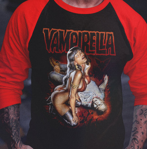 Vampirella - Feed 3/4 sleeve raglan-Blood Moon Shirts
