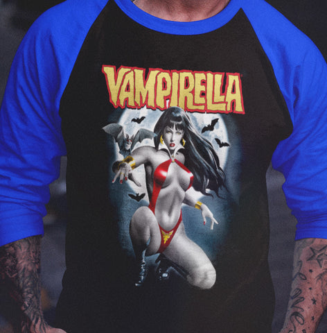 Vampirella - Moons and Bats 3/4 sleeve raglan-Blood Moon Shirts