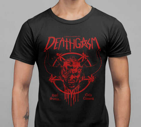 Deathgasm - Hail Satin T-shirt-Blood Moon Shirts