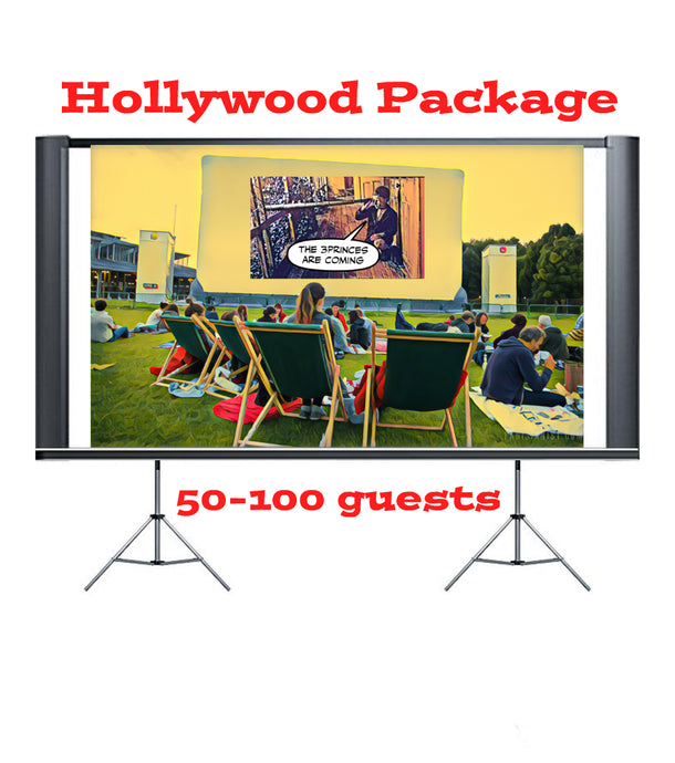 Hollywood Package 3.8 Metre Rigid Screen 50-100 guests (Indoor only)