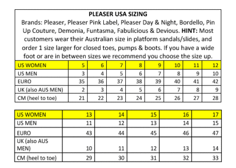 7fa5dd3790 Pleaser Size Chart – Nickers N Nails
