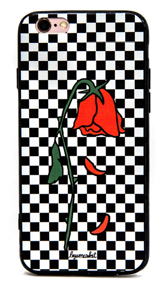 WILTED CASE - LEGSMARKET - Rose iPhone Case - checkers phone case - roses phone case - wilted rose - rose checker iphone case