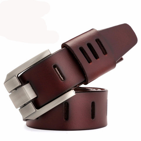 Men's belt designer leather. Dark Red