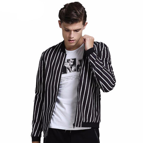 A-Spring jacket for men with black and white stripes.