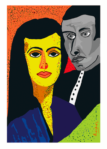 Portrait painting: The Power Couple by Dilip De