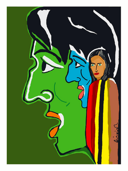 Portrait painting: Envy by Dilip De
