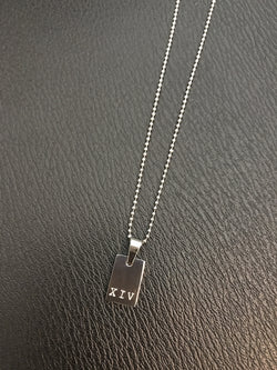 Mens Mini Rectangle Tag Necklace