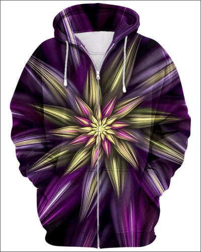 Abstract Floral - All Over Apparel - Zip Hoodie / S - www.secrettees.com
