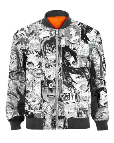 Ahegao White And Black Hot Felling - All Over Apparel - Bomber / S - www.secrettees.com