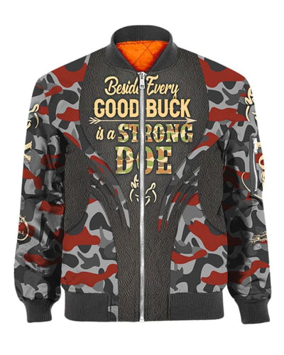 Beside Every Good Buck Is A Strong Doe - All Over Apparel - Bomber / S - www.secrettees.com