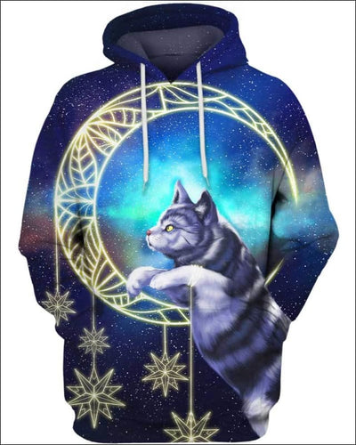 Cat Moon - All Over Apparel - Hoodie / S - www.secrettees.com