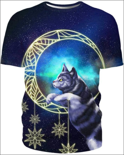 Cat Moon - All Over Apparel - T-Shirt / S - www.secrettees.com