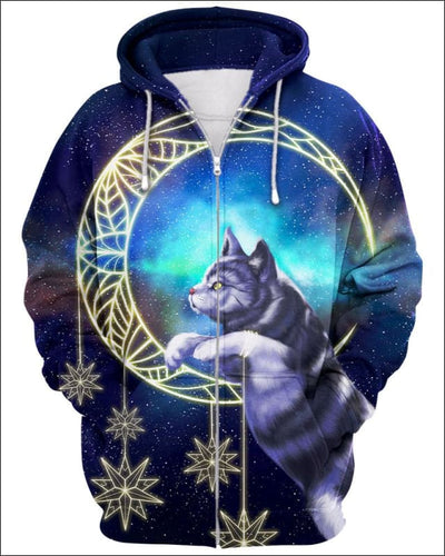 Cat Moon - All Over Apparel - Zip Hoodie / S - www.secrettees.com