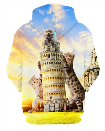 Cats and Tower of Pisa - All Over Apparel - www.secrettees.com