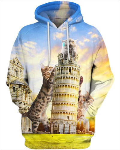 Cats and Tower of Pisa - All Over Apparel - Hoodie / S - www.secrettees.com