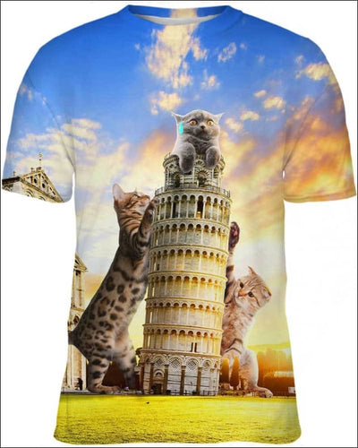 Cats and Tower of Pisa - All Over Apparel - Kid Tee / S - www.secrettees.com