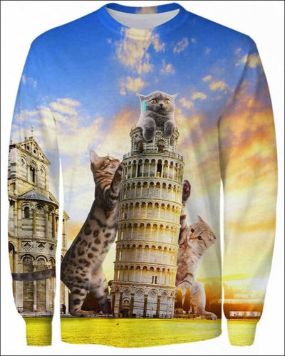 Cats and Tower of Pisa - All Over Apparel - Sweatshirt / S - www.secrettees.com
