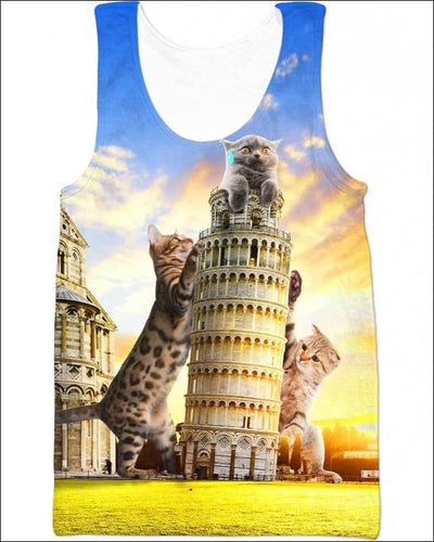 Cats and Tower of Pisa - All Over Apparel - Tank Top / S - www.secrettees.com
