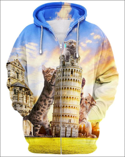 Cats and Tower of Pisa - All Over Apparel - Zip Hoodie / S - www.secrettees.com