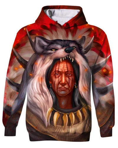Chef Amérindien Wolf - All Over Apparel - Kid Hoodie / S - www.secrettees.com
