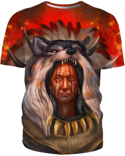Chef Amérindien Wolf - All Over Apparel - Kid Tee / S - www.secrettees.com