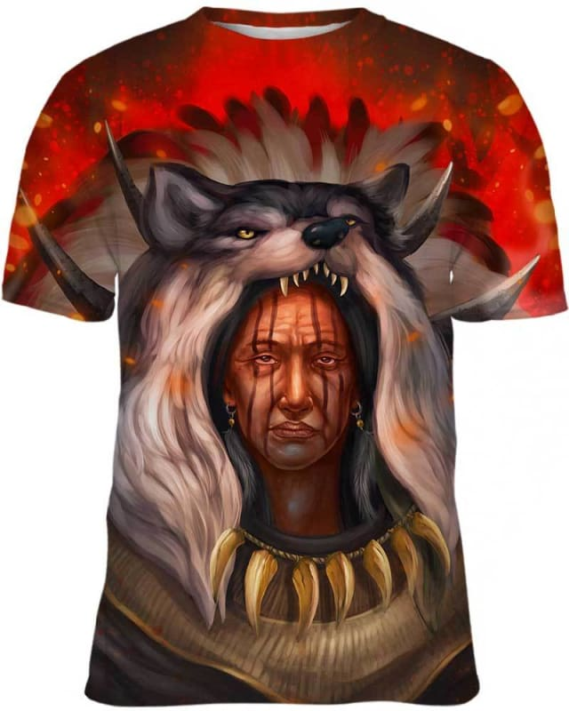 Chef Amérindien Wolf - All Over Apparel - Hoodie / S - www.secrettees.com