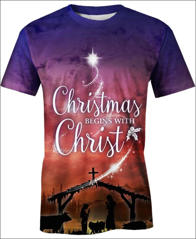 Christmas Begins With Christ - All Over Apparel - Hoodie / S - www.secrettees.com
