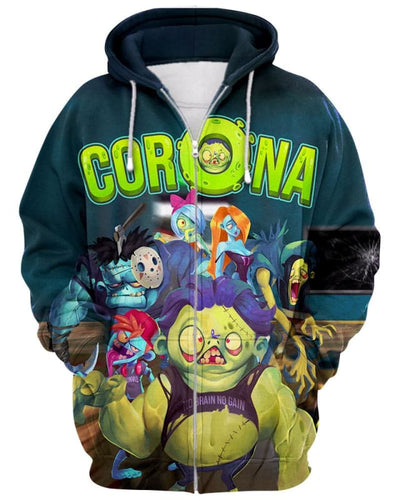 Corona Zombie - All Over Apparel - Zip Hoodie / S - www.secrettees.com