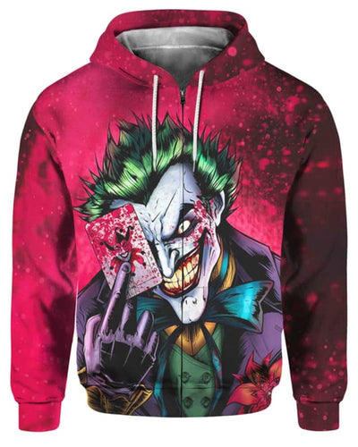 Dark Knight Joker - All Over Apparel - Zip Hoodie / S - www.secrettees.com